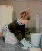 Scrubbing the floor